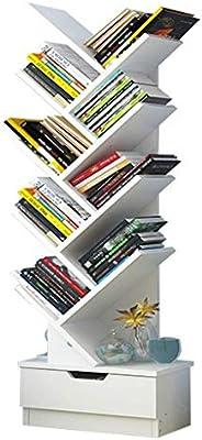 U-HOOME Bookshelf, Tree Bookcase, 7-Tier Bamboo Wood Book Rack, Storage Shelves in Living Room, Free-Standing