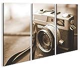 islandburner Bild Bilder auf Leinwand Alte Kamera Sepia Fotoapparat Wie Leica Vintage 35mm 3p XXL Poster Leinwandbild Wandbild Dekoartikel Wohnzimmer Marke