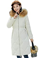 4205043d626 Shirloy Chaqueta de Pluma de Invierno Cuello de Piel Grande Algodón Larga  sección de Las Mujeres