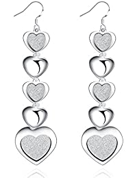 Peora Silver Plated Hearts In Queue Drop Earring For Women Girls