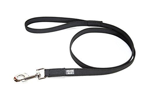 Julius-K9, 218GM-S2 Color & Gray Gumierte leine Schwarz-Grau 14mm*2 m mit Schlaufe, max. für 30 kg Hunde