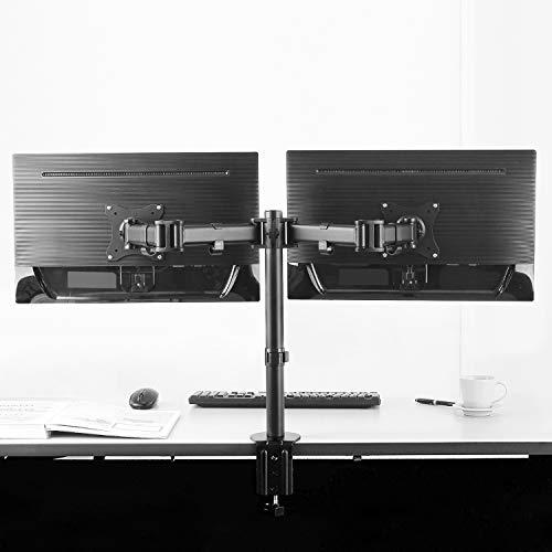 """RICOO Monitor-Halterung 2 Monitore, TS5811 Monitor-Tischhalterung, für 13""""-27"""" Zoll (33-69cm) Bildschirm-Halterung Schwenkbar Neigbar, Monitor-Ständer Dual Tisch-Standfuß, VESA 75x75 100x100, Schwarz"""