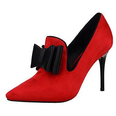 Moda Donna Sandali Sexy donna tacchi tacchi estate pu Casual Stiletto Heel Bowknot nero / rosa / rosso / grigio chiaro / Fucsia Altri Red