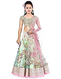 Nilkanth Fashion Girl's Bhagalpuri Printed Lengha Choli (NF_KLC_002_Green_8-12 year)