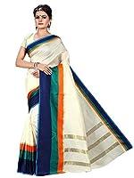 Shonaya Cream Colour Banarasi Art Silk Saree& Unstitched Blouse Piece,Free Size