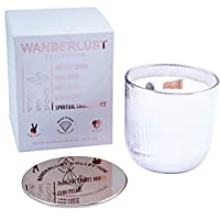 Wicks & Stones Warm Amber + Native Florals Natural Soy Candles Quartz Clarity Stone premium 60 hour burn time in glass jar scented Wanderlust Collection (Peninsula Paradise)