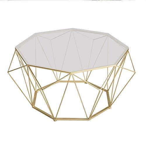 ZHIRONG Gehärtetes Glas Beistelltisch Wohnzimmer Runden Kunst Aus Eisen Sofa Beistelltisch Kaffetisch Balkon Freizeittisch ,Gold, 22.4''x17.7'' -