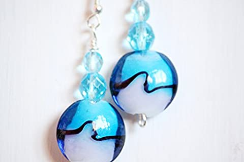 Blue and grey round lampwork glass handmade drop earrings