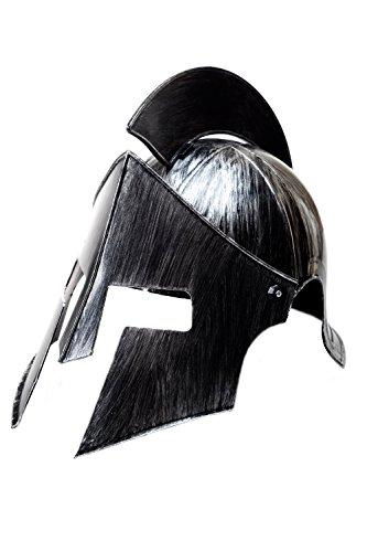 DRESS ME UP - Halloween Karneval Helm Kamm beweglicher Gesichtsschutz Rüstung Gladiator Rom Sparta Antike Silberfarben (Perseus Kostüme Halloween)