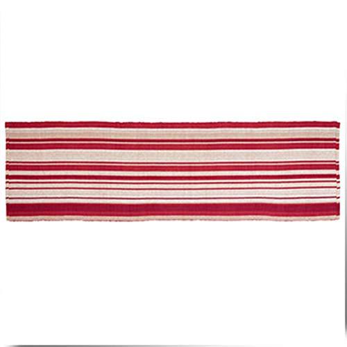 GHGMM Teppiche Vorleger,Cranberry Farbe gestreifter Baumwollteppich Baumwollteppich 60 * 200cm Schlafzimmerflur Wohnzimmer,Red,60 * 200CM - Cranberry Farbe Teppich