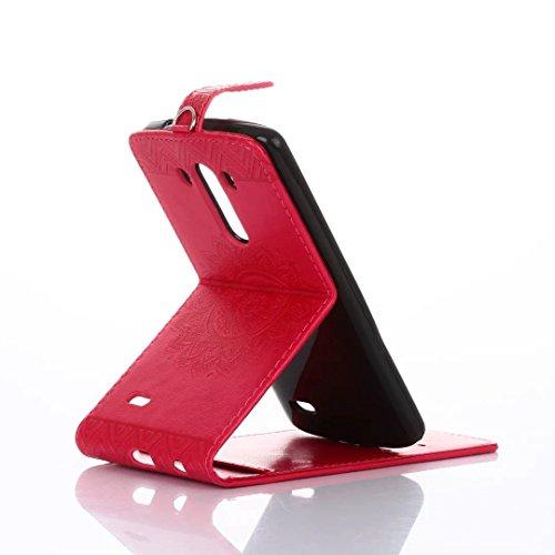 LG G3 Case, Vertikale Flip Standplatz Fall Geprägte Blumen Muster Ledertasche Tasche mit Wallet Card Slots für LG G3 ( Color : Black , Size : LG G3 ) Red