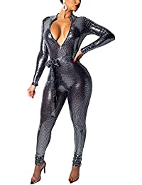 a1395b79005f Mengmiao Women Jumpsuit Sparkle Sequin Long Sleeve Deep V Neck Romper  Bodysuit for Party