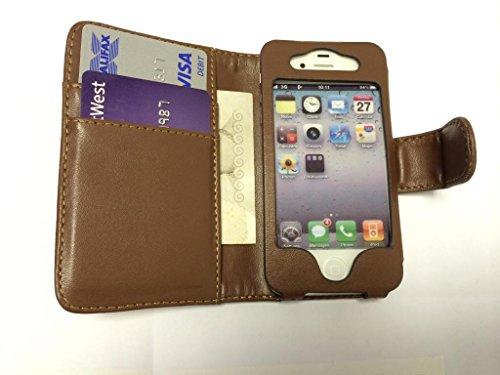 Outstanding Value Apple iPhone 4 4S Brown Geldbörse mit zwei Kartensteckplätze PU-Leder-Kasten-Abdeckung für Apple iPhone 4 4S