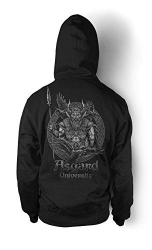 Asgard University Männer und Herren Kapuzenpullover   Odin Wikinger Walhalla Geschenk   M1 FB (Schwarz, XXXXL) (Wand Valhalla)