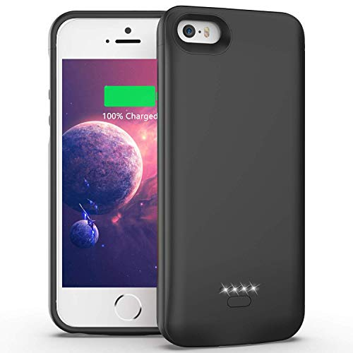 Ennotek caricabatterie con batteria integrata 4000mah per iphone se / 5s / 5 - nero