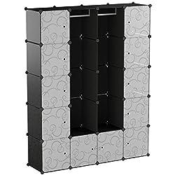 SIMPDIY Armoire Portable Cabinet en Plastique 12+2 Cubes 144x36x180cm Grande Capacité Stockage de Vêtements Organisateur de Boîtes
