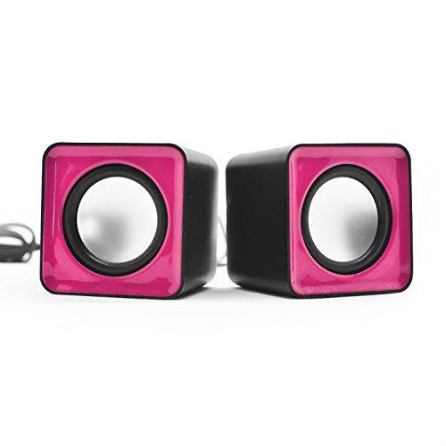 Preisvergleich Produktbild Incutex Lautsprecher Sound Boxen Multimedia Speakers für PC Laptop mini audio speaker pink