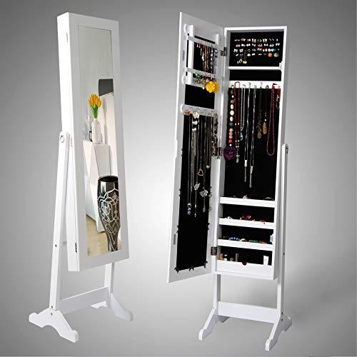 WOLTU MB0003ws Spiegel Schmuckschrank Standspiegel Schmuckregal Spiegelschrank Schmuckkasten, Winkel Einstellbar, mit Magnetverschluss, Weiß, ca.143,5 x 34 x 37,5 cm