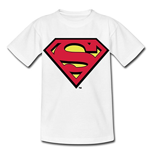 Spreadshirt DC Comics Superman Logo Original Kinder T-Shirt, 98/104 (3-4 Jahre), Weiß -