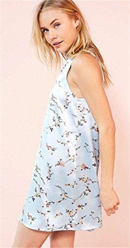 Moda Senza Maniche a fiori floreale stampato Zipper sul retro Satin Mini Corte Corta Shift Boxy dritto Dress Vestito Abito blu Blu