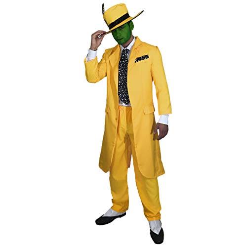 Herren 90er Abendkleid Maske Jim Carrey Outfit (Männer: Medium) (Jim Carrey Kostüm)