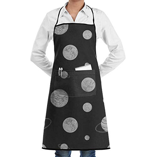 Custom Kostüm Fit Hunde - Custom Aprons Monochrome Planets Space Pattern Menâ€s Womenâ€s Unisex Internet Cafes Kitchen Long Aprons Sleeveless Overalls Portable with Pocket for Cooking,Baking,Crafting,Gardening,BBQ