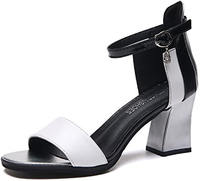 Donyyyy Sandalias sandalias de verano, los tacones altos y los dedos de los pies con una sola palabra,blanca,39 -