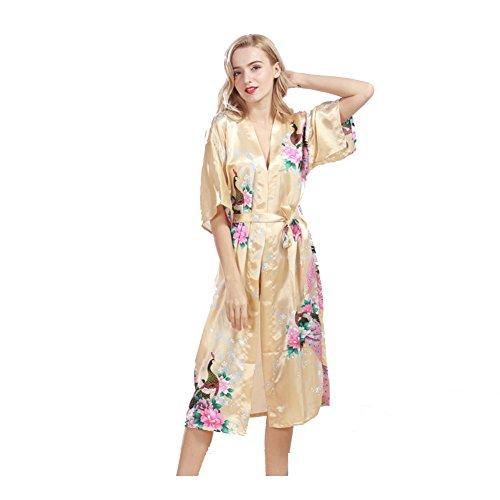 Donna Raso Accappatoio Corto,Pavone Fiore Sexy Seta Serico Elegante Vestaglie Camicia da Notte Vestiti Pigiama Oro