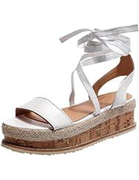 45b00ef8abfdce AmazingDays Femme Sandales Plates Compensees CompenséE Chaussures ete  Romaine Plate-Forme Tissé éPais-Fond