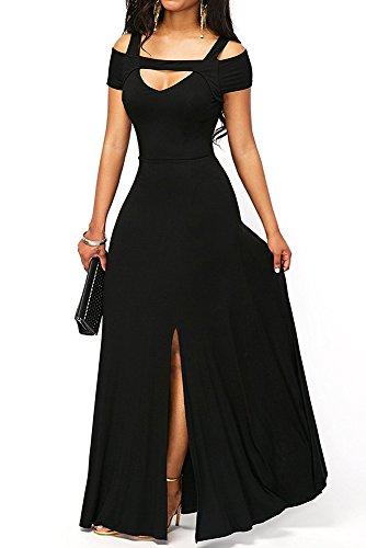 TOUVIE Damen Elegant Langes Abendkleid V-Ausschnitt Ballkleider Cocktailkleider Schwarz M -