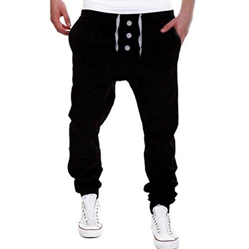 Sport bekleidung FORH Herren Sweatpants Vintage Jogger Hosen Yoga Hose Fitness Gym Laufen stoffhose Baggy Dancehosen bequem harem pants mit Tunnelzug Druckknopf design (XL, Schwarz)