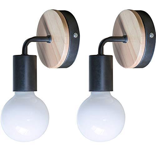 OYGROUP Loft Black Wandleuchte Simplicity E27 LED Eisen und Holz Tafel Wandleuchten für Kinder Zimmer Schlafzimmer Bar Hotel (keine Birne)