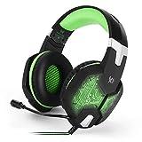 LEENY® Professional Gaming Kopfhörer, Kopf Tragestil Gaming-Headset mit LED Respiratory Leuchte Ohrhörer, Earphones 3D-Surround-Klangqualität, Elektronisches Geschenk für Spiel-Enthusiast,Green