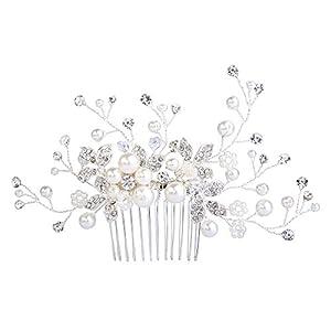 Clearine Damen Künstliche Perlen Kristall Blume Handarbeit DIY Braut Hochzeit Haarkamm Haarschmuck Ivory-Farbe