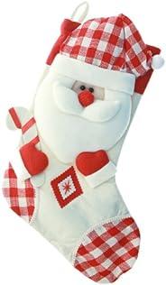 WeRChristmas - Calza di Natale con decorazione 3D a forma di testa di Babbo Natale, finiture a quadretti, 48 c