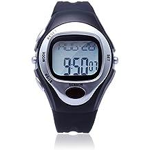 Aursen® Montre Cardiofréquencemètre Mesure de Rythme Cardiaque Sport Chronomètre Argent