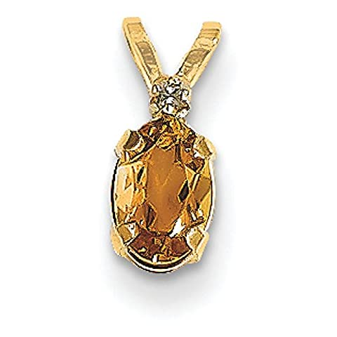 14ct Yellow Gold Diamond and Citrine Birthstone