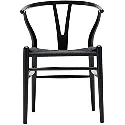 Carl Hansen Wishbone CH24poltrona, oak black, paper cord black