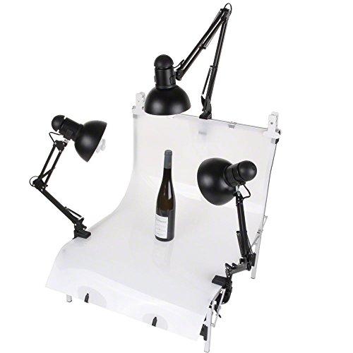 Walimex Aufnahmetisch Set Tavola mit Daylights (3x 25W) für Still-Life- und Produktfotografie