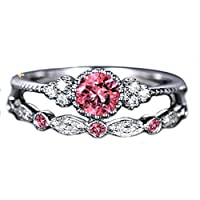 The Belcher's 2Pcs/Set Crystal Artificial Gem Wedding Engagement Finger Ring Rhinestone for Women Female Claws Design Valentine's Day Jewelry Gift-Pink 5