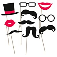 Amakando Photo Props Wedding - 10 tlg.   Photo Booth Props Beard   Party Photo Equipment   Party Decorations