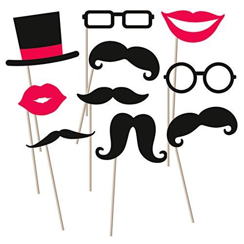 Photo Booth Props Bart Fotorequisiten Hochzeit 10 tlg. Foto Accessoires Partyfotos Fotobox Requisiten Moustache