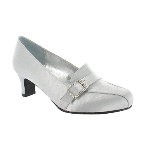 Ladies Lexus Medium Heel Wide 'E' Fitting Shoe with Diamante Design and Closed Toe. Diamante Design