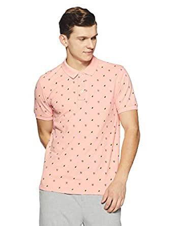 Amazon Brand - House & Shields Men's PrintedRegular Fit Polo (AW18-HSK-05_Organic Pink_Small)