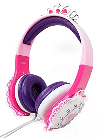 Casque audio enfant pour Auna Disco Fever chaîne, OneConcept Karaboom parleur Bluetooth, Auna KS-1 Starlet et Rockpocket Lecteurs Cd+G Karaoké - couronne princesse rose, par DURAGADGET