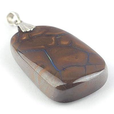"""Pendentif de boulder opale australienne serti d'argent 34x20x8 mm (1.34x0.79x0.31"""")"""