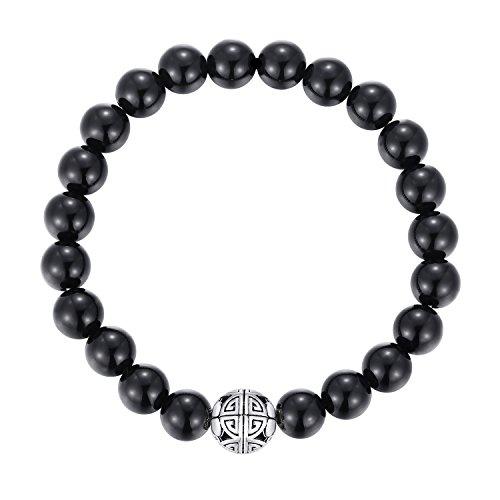Naturelles 8mm Pierres Bracelet précieuses de guérison MetJakt avec Cristal Bangle en perles avec pendentif en Argent Sterling 925 Pendentif Double Bonheu