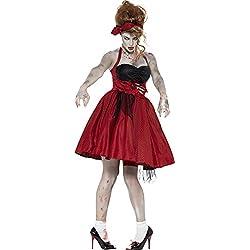 Smiffy's - Disfraz zombie Rockabilly años 50 para mujeres, color rojo (44369M)