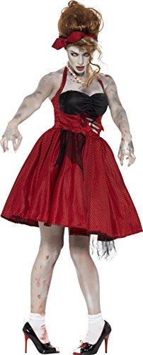 Smiffys, Damen Zombie-Rockabilly Kostüm, Kleid mit Latex Rippen und Stirnband, Größe: M, (Halloween Rockabilly Kostüm)