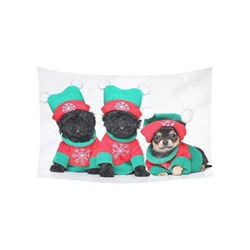 Weihnachten Gruppe Kostüm - JOCHUAN Teppich - Gruppe welpen Weihnachten kostümen posieren auf Foto - tapisserien Wall Hanging Blume psychedelischen wandteppich Wall Hanging indischen wohnheim 60 x 40 Zoll